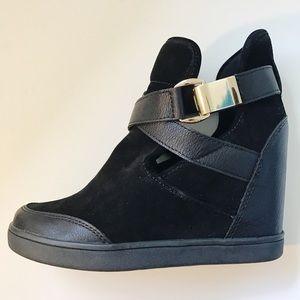 Aldo black wedge sneakers size 8